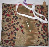 Shopper in cotone rossa e maculata verde e rosso