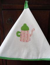 Strofinaccio verde decorato