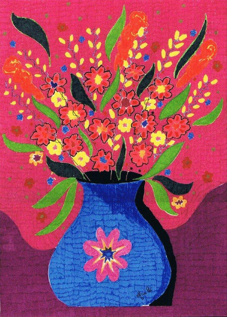 Vaso di fiori disegno su carta