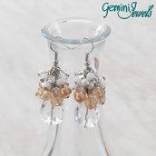 Orecchini grappolo di perle e goccia sfaccettata, crystal - light rose