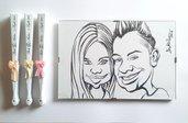 6 Pezzi Ventagli Bianchi Personalizzati Matrimonio con fiocco Caricatura sposi