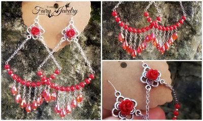 Orecchini rosso corallo acciaio rosso chandelier pendenti rose gioielli bigiotteria artigianale