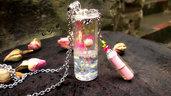 Collana desiderio ampolla resina fiori naturali colorati bolle gioielli magico bigiotteria