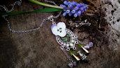 Collana viola del pensiero cristalli argento boho acciaio gioielli artistici artigianali