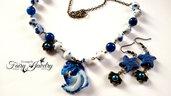 Set collana e orecchini sirena con swarovski giade e agate stelle marine blu bronzo