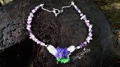 Collana violette mammole chips ametista acciaio inossidabile gioielli artistici artigianali