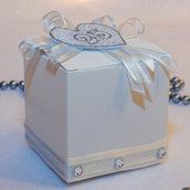 Scatolina per il 25°anniversario di matrimonio, nozze d'argento, 7 cm x 7 cm