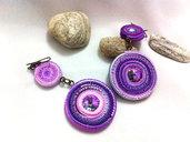 Orecchino pendente donna in fimo, orecchino a cerchio con cristallo, idea regalo compleanno figlia amica, rosa , viola