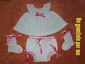 Completino neonata all'uncinetto, vestitino, copripannolino, calzini, cotone idea regalo