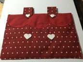 Copriforno stoffa Rosso bordò con cuoricini bianchi