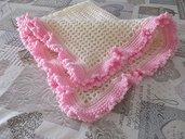 Copertina neonata, panna e rosa, per culle e carrozzine