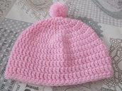 Cappellino neonata, rosa con pon pon