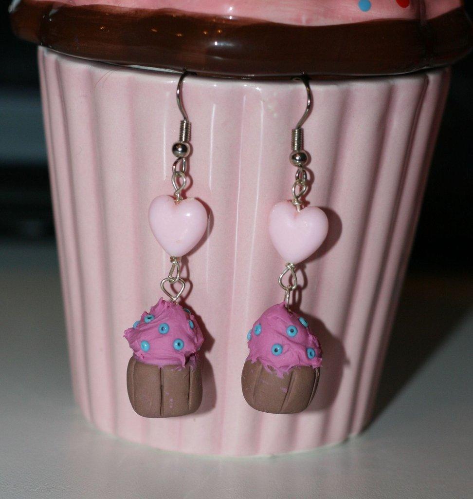 orecchini cupcake con cuoricino