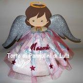 Torta di Pannolini Pampers angelo angioletto rosa femmina - idea regalo, originale ed utile, per nascite, battesimi e compleanni