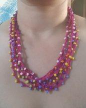 Collana multifili con perline