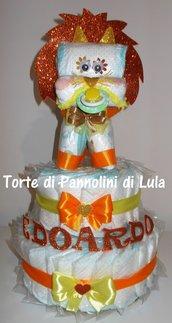 Torta di pannolini grande Pampers Leone cucciolo animale Idea regalo utile originale per nascita battesimo o compleanno