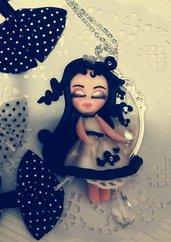 Dolls in pasta polimerica su cammeo argento