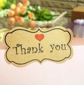 "Etichette 36 pezzi set in carta kraft ""Thank you"""