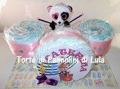 Torta Pannolini Pampers Batteria rosa femmina Musica Peluche idea regalo nascita battesimo