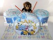 Torta Pannolini grande Pampers Batteria azzurra maschio Musica Peluche idea regalo nascita battesimo