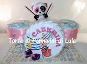 Torta Pannolini grande Pampers Batteria rosa femmina Musica Peluche idea regalo nascita battesimo