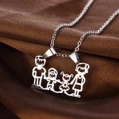 collana con ciondolo famiglia My Family bimbo bimba - Acciaio idea regalo mamma