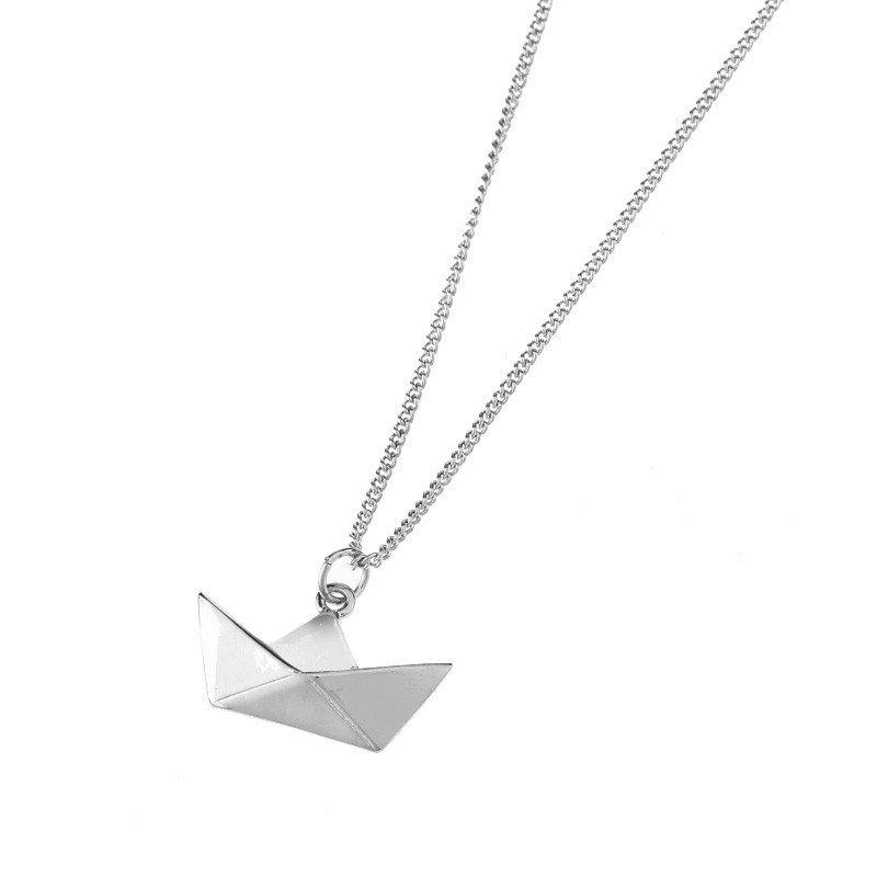 Collana Barca Carta Origami Paper Boat Art Deco Fashion Shabby Chic