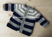 Cardigan/maglia/giacca neonato/bambino - righe - pura lana merino - fatta a mano