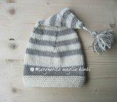 Berretto/cappello a punta + nappina -  bambino - righe - pura lana - fatto a mano