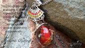 Collana madama butterfly farfalla resina acciaio mini giardino gioielli artigianali artistici idea regalo