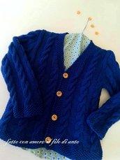 Cardigan / maglia bambino in puro cotone blu con trecce