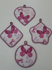 Coppia di presine fantasia farfalle rosa