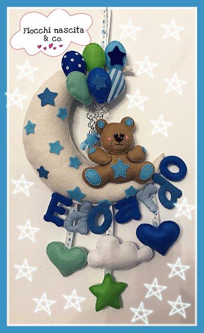 Fiocco nascita orsetto con palloncini