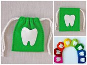 Sacchetto porta dentino - la fata dei denti - il topolino dei denti