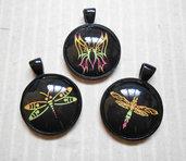 3 ciondoli con cammeo fotografico - insetti