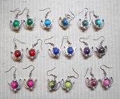 9 paia orecchiini teiere con perle