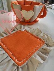 Tazza grande porta cialde  e presina stile shabby  fatti a mano arancione e lino
