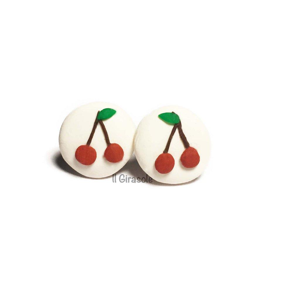 Orecchini a bottoncino con ciliegie in pasta polimerica fimo