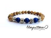 Bracciale da uomo elastico con perle in pietra e distanziatori in metallo decorato, bracciale ragazzo,idea regalo,per lui,gioielli uomo,