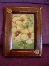 Quadro a decoupage con fiori a rilievo color oro