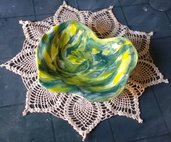 2° piccolo vassoio di ceramica verde sfumato, svuota tasche o porta caramelle o cioccolatini