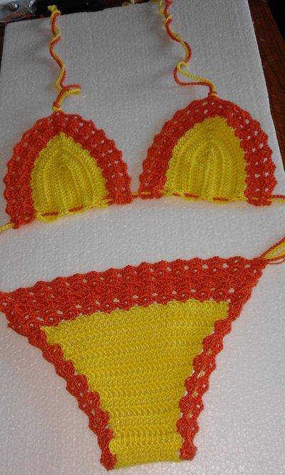 Bikini Costume Mare Uncinetto Bambina Bambini Abbigliamento D