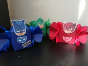 Scatolina compleanno pj masks caramella scatola bomboniera confetti gufetta owelette Gekko geco catboy gattoboy