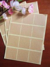 "Etichette 36 pezzi set in carta kraft ""square scallop"""