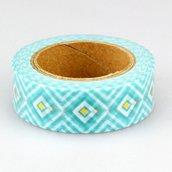 Washi tape 1,5 cm 10 m. colore azzurro con inserti colore oro