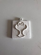 Quadretto con icona prima comunione gesso ceramico per fai da te