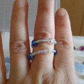 Anello azzurro,blu e trasparente