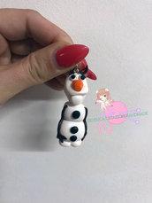 """Portachiavi Olaf """"Frozen il regno di ghiaccio"""" in fimo"""