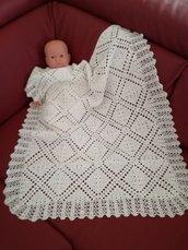 Copertina bebè unisex bianca in puro cotone fatta a mano, Coperta fa carrozzina in puro cotone realizzato ad uncinetto, Copertino bimbo, copertina bimba. Pronta da spedire