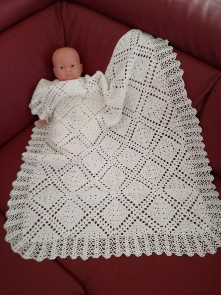 Copertina Bebè Unisex Bianca In Puro Cotone Fatta A Mano Coperta F
